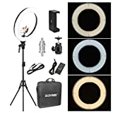 Zomei 18-inch LED Ring Light 50W 3200-5500K White Color and Orange Color Changing Directly Lighting Kit with Tripod Stand Ball Head and Phone Adapter for Camera Smartphone Youtube Video Shooting (Color: 18inch dimmable, Tamaño: 18 inch)