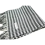 Dry77 Regular Size Black and White Houndstooth Pashmina Scarf