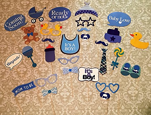 Baby Shower Photo Booth props, 29 pcs attached to the stick, NO DIY REQUIRED its a boy, baby shower decoration, party photo booth (Photo Booth Props Baby Shower compare prices)