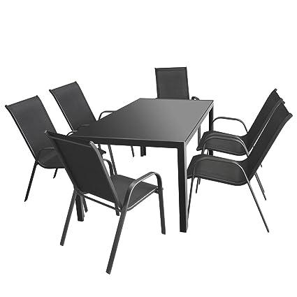 7tlg. Sitzgruppe Alu Gartentisch mit Tischglasplatte anthrazit undurchsichtig 160x90cm + 6x Gartenstuhl, stapelbar, Textilenbespannung, Anthrazit / Gartengarnitur Gartenmöbel Set