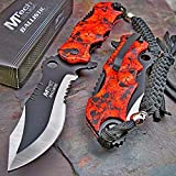 1 X Mtech Ballistic Bowie Black Red Skull Camo Assisted Opening Pocket Knife