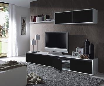 Aida - ALIDA living room TV cabinet 200 cm. - 0T6663BO - WHITE GLOSS/ BLACK GLOSS - (211x52.5x10)