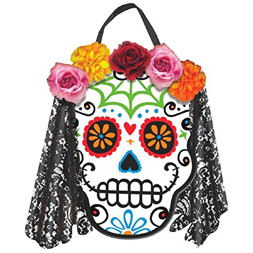 Day of the Dead Sign - Wood with Fabric Flowers, Lace Veil & Ribbon Hanger - 12 x 9-1/2 Inches (Day Of The Dead Party Ideas)