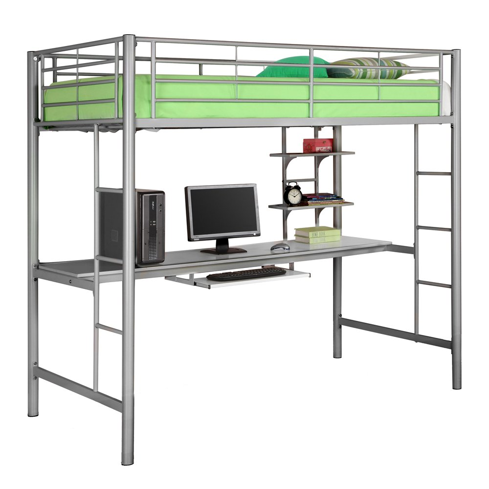Metal Twin Bunk Bed with Workstation