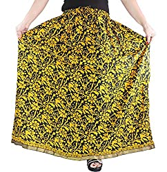 Aura Life Style Cotton Long Skirt (ALSK2138P,Free,Yellow)