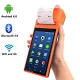 [Update 2.0] Android 6.0 POS Terminal MUNBYN with 3G WiFi Bluetooth Printer can Print Order Receipt and Camera to Read 1D & 2D QR Code Loyverse Software Compatible for Small Business Receipt Printing (Color: Upgraded version POS printer)
