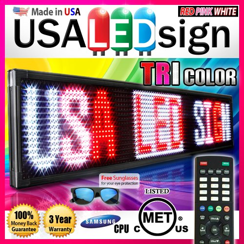 "Led Signs 31"" X 22"" Tri-Color Bright Digital Programmable Scrolling Message Display / Business Tools"