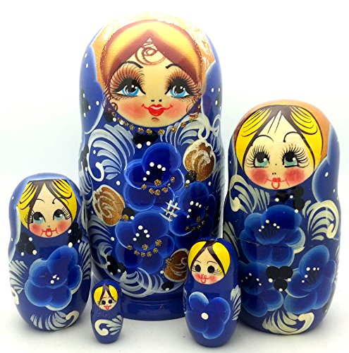 Russian Nesting Doll Matryoshka Gzhel Style Hand Painted Nesting Doll Set Of 5