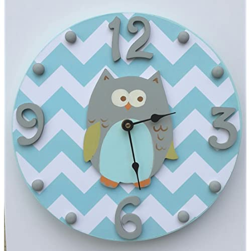 Aqua & White Chevron Owl Wooden Hand painted Kids Wall Clock Custom Colors Available!