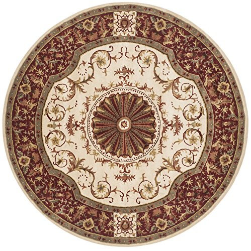 Safavieh Empire Collection EM459A Handmade Ivory and Red Wool Round Area Rug, 6 feet in Diameter (6' Diameter)