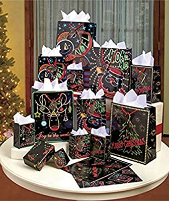 Glow in the Dark Christmas Gift Bag Set, 26 Pieces