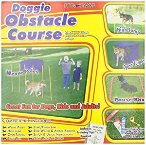 Kyjen DG40105 Doggie Obstacle Course Kit with Starter Kit with Dog Tunnel Weave Pole High Jump Obstacles, Large, Red