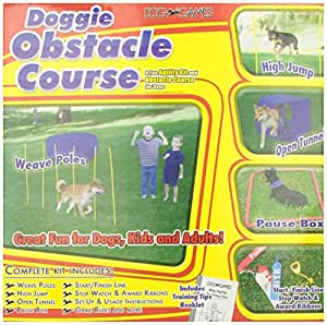 Outward Hound Kyjen  DG40105 Doggie Obstacle Course Kit with Starter Kit with Dog Tunnel Weave Pole High Jump Obstacles, Large, Red
