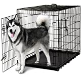"OxGord 48"" XXXL Dog Crate, Double-Doors Folding Metal w/ Divider & Tray 