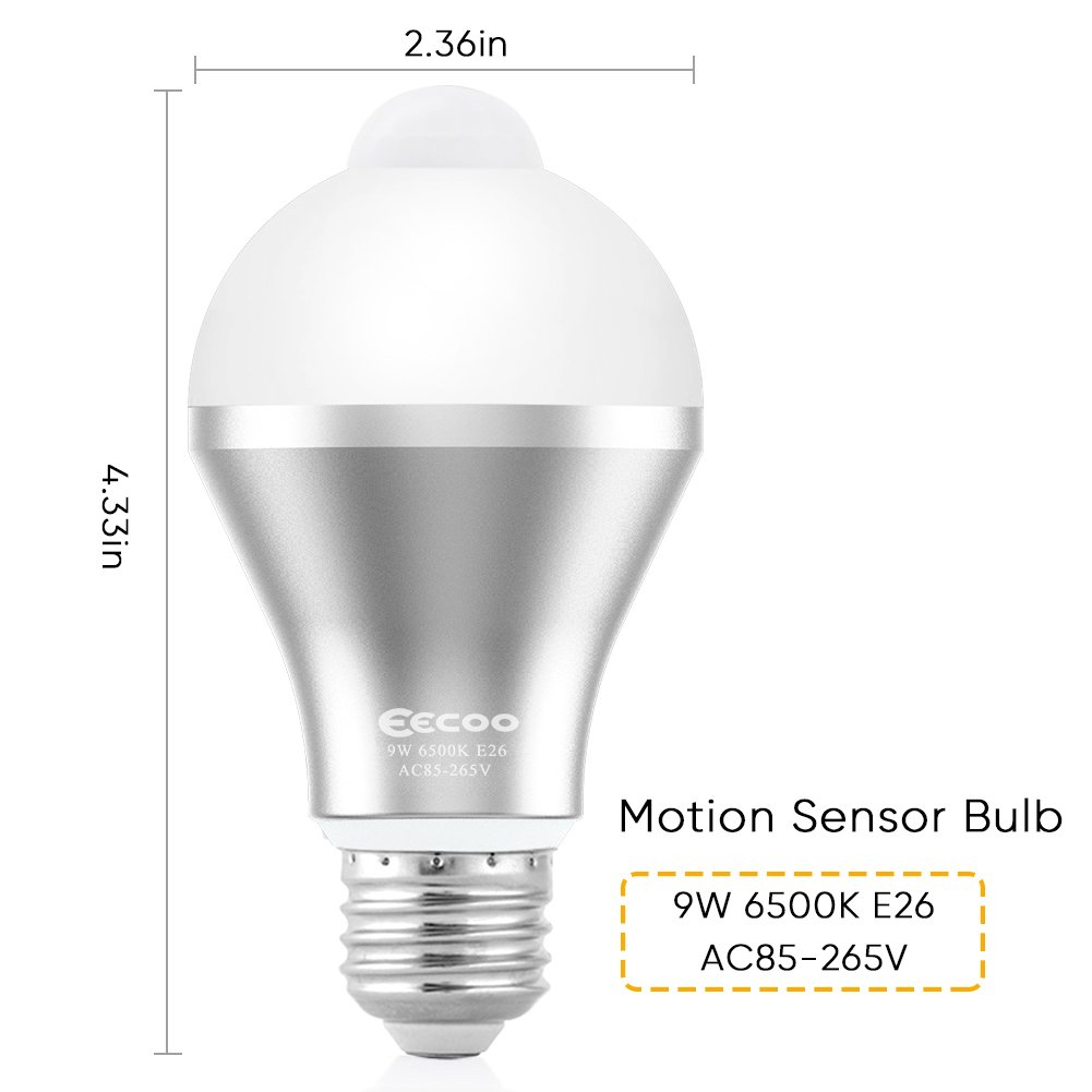 Motion Sensor Light Bulb,EECOO 9W Smart PIR LED Bulbs Auto On/Off Security Lights Outdoor/Indoor Lamp for Stairs Front Door Hallway Patio Yard Garage Basement (E26/E27, 600lumen,Cool White,3 Pack)