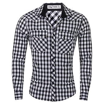 Stylish Check Mens Casual Slim fit Dress Shirts Fine Black Check Small
