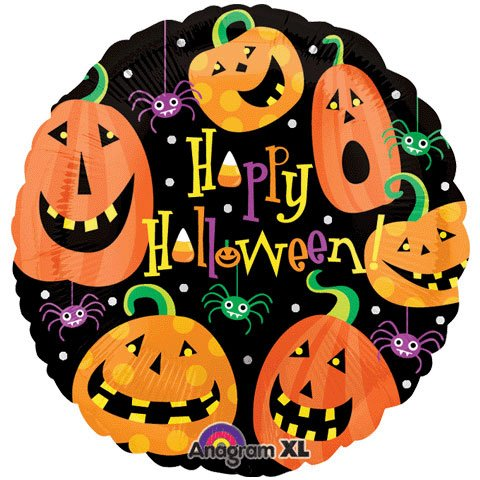 """Happy Halloween"" Pumpkin Spider 18"" Balloon Mylar"