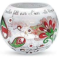 Perfect Paisley Holiday By Pavilion Crackled Glass Candle Holder, Family Sentiment, 4 Inch Round