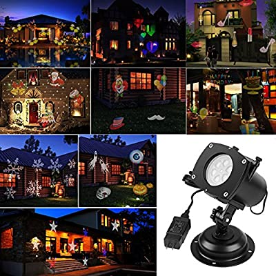 ARINO LED Projector Light Projector LED Landscape Decoration Lighting for Halloween Christmas Easter Birthday Holiday Party 12pcs Holiday Slides Waterproof