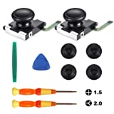 3D Replacement Joystick 2 Pack, Analog Thumb Stick Sensor Replacements for Nintendo Switch Joy-Con Controller with Cross Screwdriver Tool/Tri-wing Screwdriver/4 Thumbstick Caps/Triangle Paddle/Pry Too