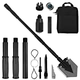 Portable Folding Shovel Pickax with Tactical Waist Pack All-in-1 Surplus Military Multitool Tactical Spade for Outdoor Camping Hiking Backpacking Entrenching Garden Tool Car Emergency 38 inch Length (Color: 38 inch Shovel Black)