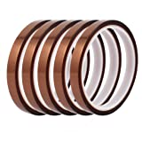 uxcell 5Pcs 10mm Width 30M Length High Temp Heat Resistant Polyimide Tape Brown