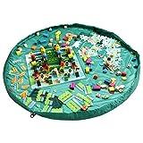 h-alifunâ ® Gran 60inch de diámetro portátil bolsa de almacenamiento de juguete y alfombra de juegos para niños Lego juguetes Organizador plegable rápidamente y fácilmente en una bolsa de hombro, perfecto para guardería Almacenamiento y organización