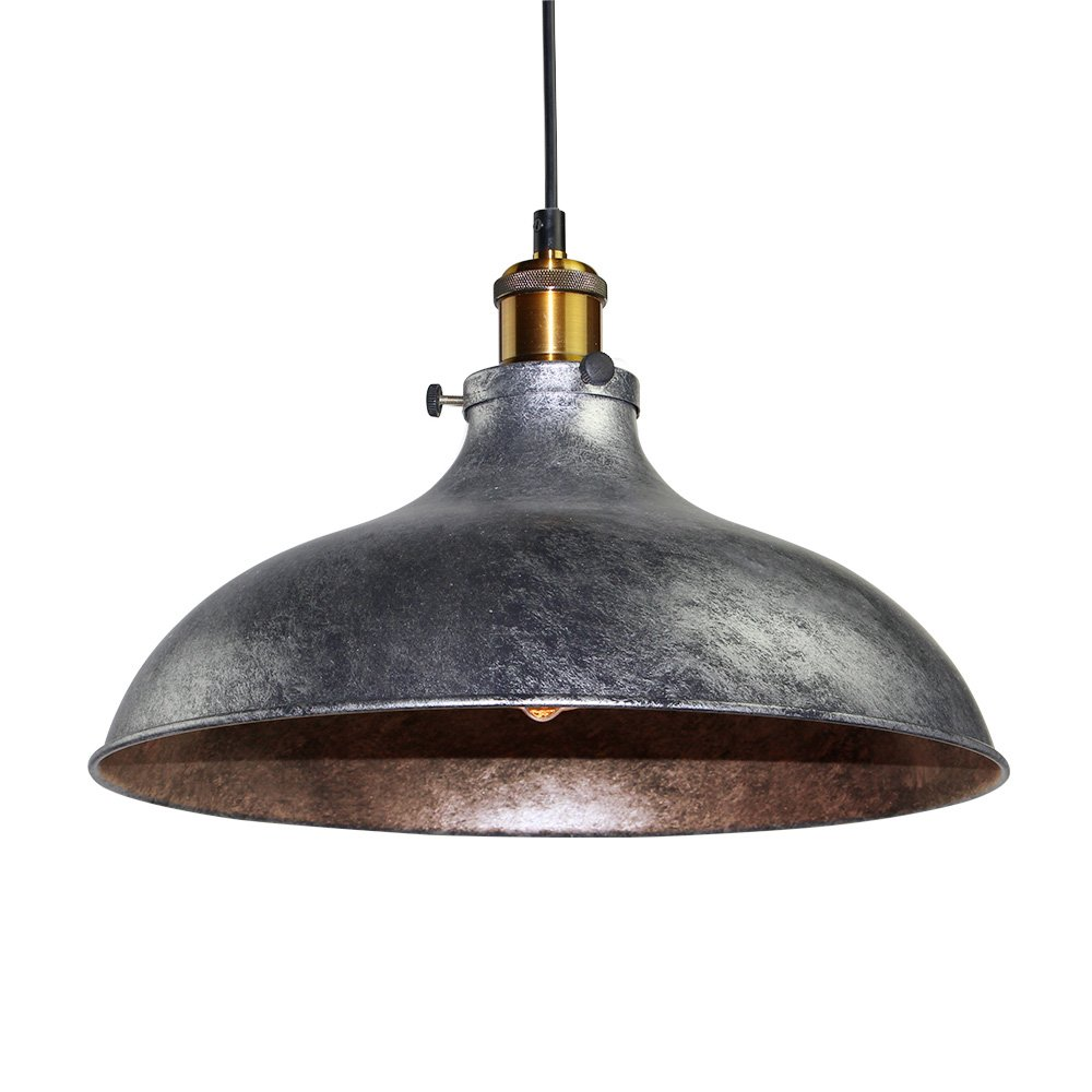 LNC Vintage Pendant Lights, Industrial 1-light Adjustable Hanging Lights, Brass Finish, Gray Metal Shade 0