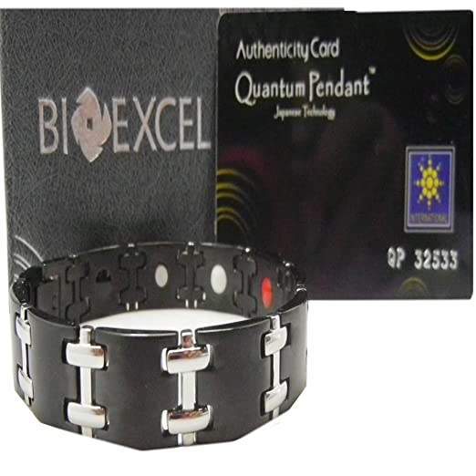 Pack of 5 Bioexcel Stone and Energy Bracelet - Double T Black Design