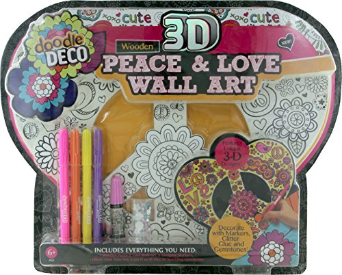 Doodle Deco Wooden 3d Peace & Love Decorate Your Own Wall Art