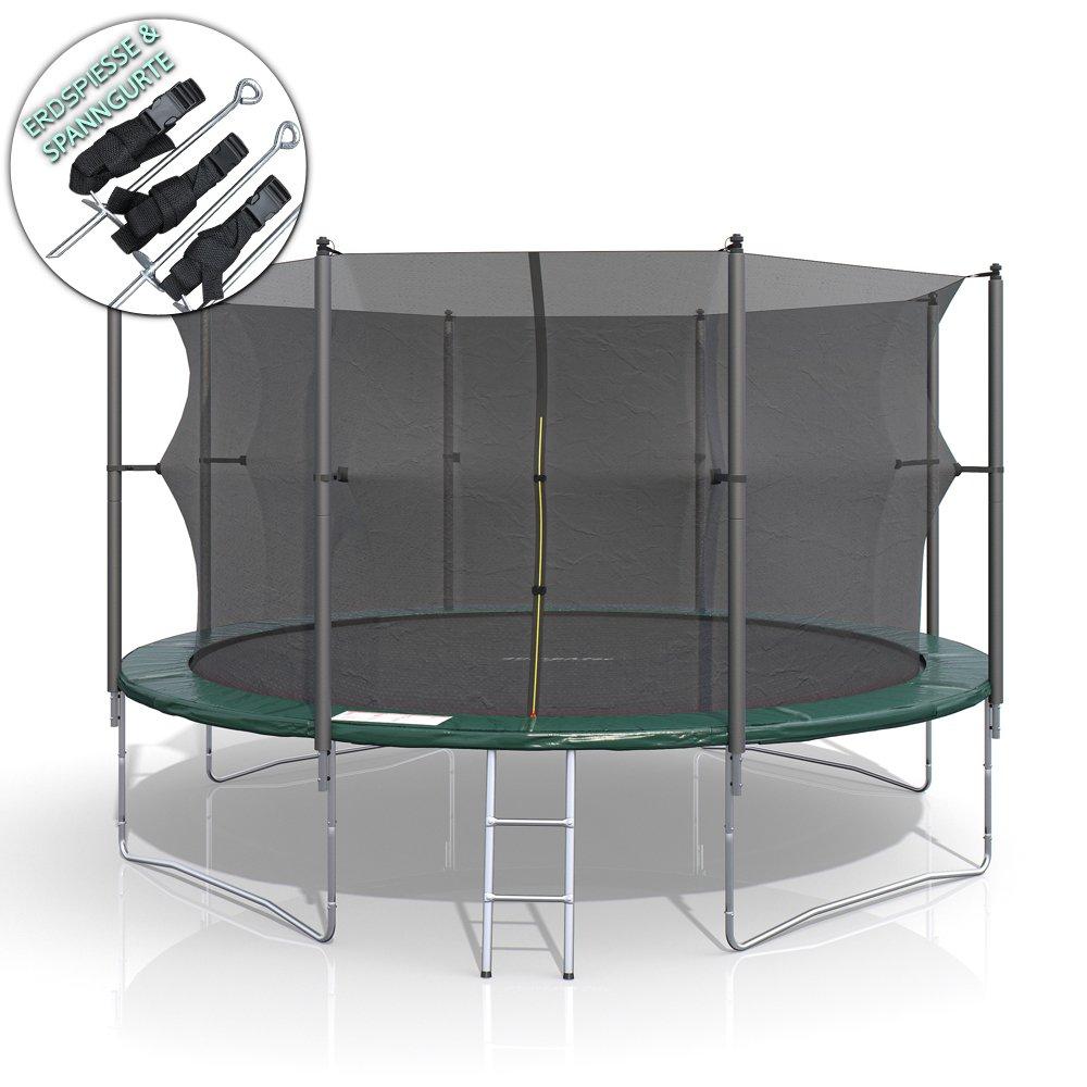 XXL Trampolin 430 cm Gartentrampolin Komplettset mit Netz innenliegend Leiter Erdanker Spanngurte Abdeckung