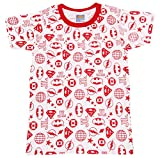 Eteenz Boys' Regular Fit T-Shirt (SH 33, Red and White, 7 Years)