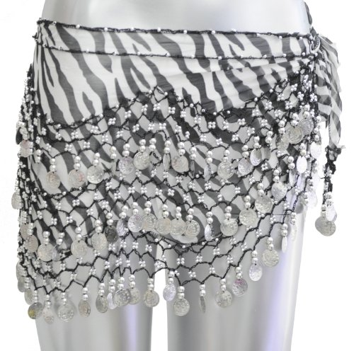 Belly Dance Dancing Animal Print Hip Scarf - Black Zebra with Silver Coins