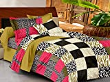 Casa Basics -144 TC Ezy Collection Black & Pink Paisley 100% Cotton Double Bedsheet With 2 Pillow Covers...
