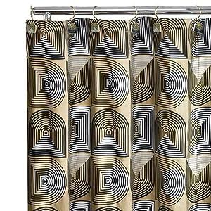 Retro Metallic Fabric Shower Curtain Modern Geometric Gold Silver Black