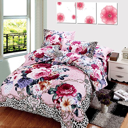 Lt Queen King Size 100% Cotton Thickening Sanded Soft 4-Pieces Pink Purple White Red Flowers White And Black Leopard Skin Floral Prints Duvet Cover Set/Bed Linens/Bed Sheet Sets/Bedclothes/Bedding Sets/Bed Sets/Bed Covers/5-Pieces Comforter Sets (4, King) front-996407