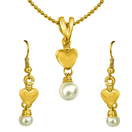 Surat Diamonds Heart Shape Imitation Shell Pearl & Gold Plated Pendant with Chain & Earring Set for Girls  SDS149  available at Amazon for Rs.149