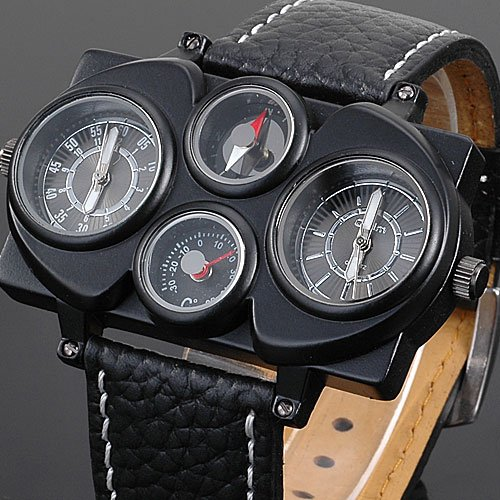 Oulm Adventure Multi-Function Dual Movt Black Leather Watch For Men With Rectangle Shaped - Black(58174)