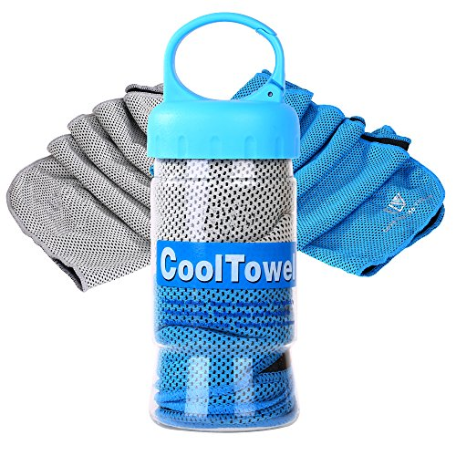 Cooling Towel, E LV Set of 2 Personal Cooling Towels Reusable Sweat-Absorbent Towel for Instant Releaf super soft Breathable For Workout, Fitness, Running & Other Sports (BLUE/GREY)