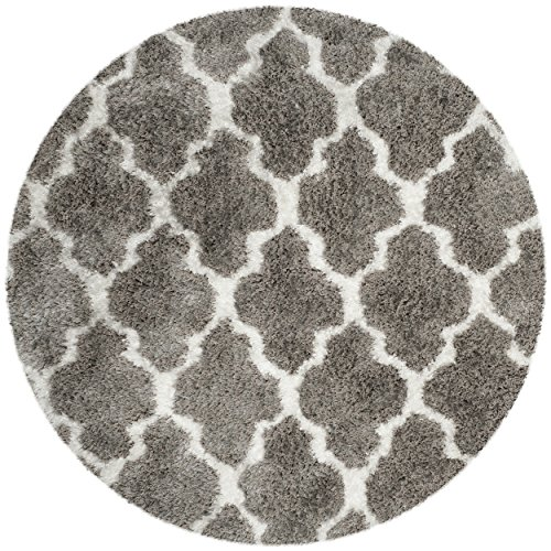Safavieh Barcelona Shag Collection BSG319B Handmade Silver and Ivory Polyester Round Area Rug, 5 feet in Diameter (5' Diameter)