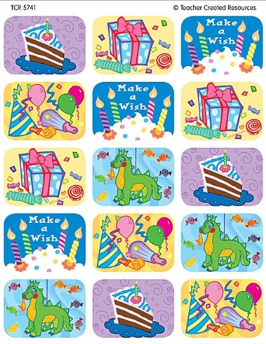 Teacher Created Resources Birthday Jumbo Stickers, Multi Color (5741) - 1