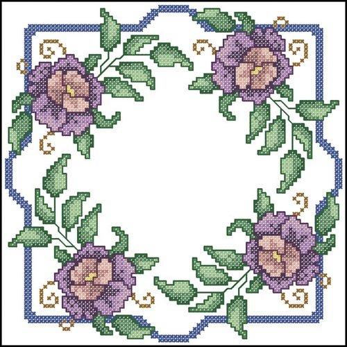 Herrschners Purple Roses Quilt Blocks Stamped Cross-Stitch