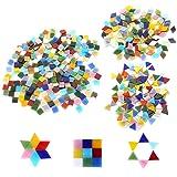 600pcs/400g Bulk Mosaic Tile Assortment, Mixed Colors Stained Glass, Square, Triangle, Rhombus, Home Decoration DIY Arts & Craft (Non-Transparent) (Color: Non-transparent)