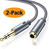 Headphone Extension Cable, Oldboytech 3.5mm Stereo Audio Cable [2-Pack,3.3ft,Hi-Fi Sound] Nylon-Braided Male to Female AUX Cord Adapter Compatible iPhone iPad iPod Speaker Smartphone Tablets & More (Color: Grey, Tamaño: 3.3 Feet (1 Meters))