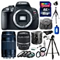 Canon EOS Rebel T5 Digital SLR Camera Body & EF-S 18-55mm IS II with Canon 75-300mm III Lens + 16GB Card + Macro Extension Tube Set + Case + Tripod + Accessories