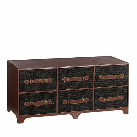 Mueble de TV de 6 cajones étnico negro de madera para salón Bretaña