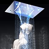 LED Luxury Large Square Waterfall Rain Shower System Contemporary Waterfall Shower Head Combo Hot and Cold Shower Mixer Chrome Finish (Color: Silver)
