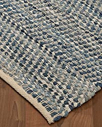 NaturalAreaRugs Cayman Cotton/Leather Rug With Free Rug Pad, 4\' x 6\'