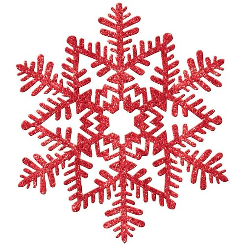 decoration 11 inches red glitter snowflake