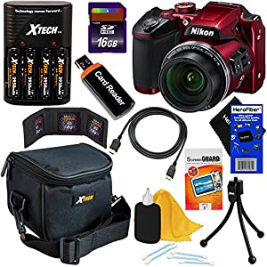 Nikon COOLPIX B500 16MP Wi-Fi, NFC Digital Camera w/40x Zoom & HD Video (Red) - International Version (No Warranty) + 4 AA Batteries with Charger + 9pc 16GB Accessory Kit w/ HeroFiber Cleaning Cloth